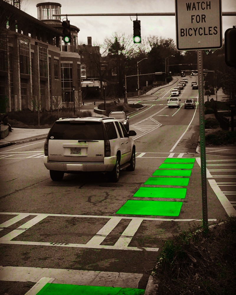 Bright green to make the bike lane more visible