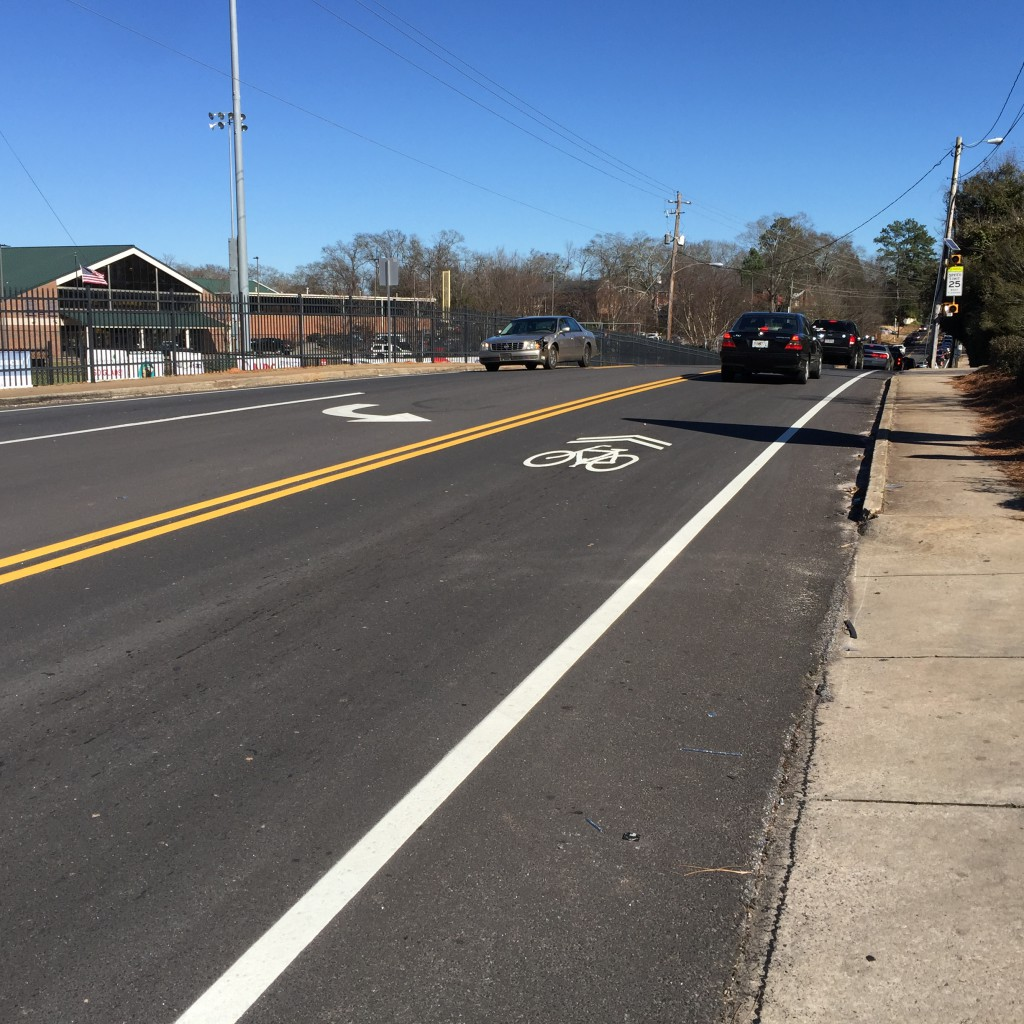 The sharrow clarifies that that this is NOT a bike lane.