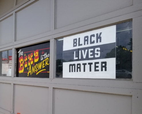 Black Lives Matter sign in a window