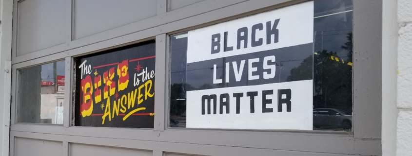 Black Lives Matter sign in a window